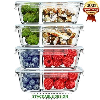 Amazoncom 2 Compartment Glass Food Storage Container Unique
