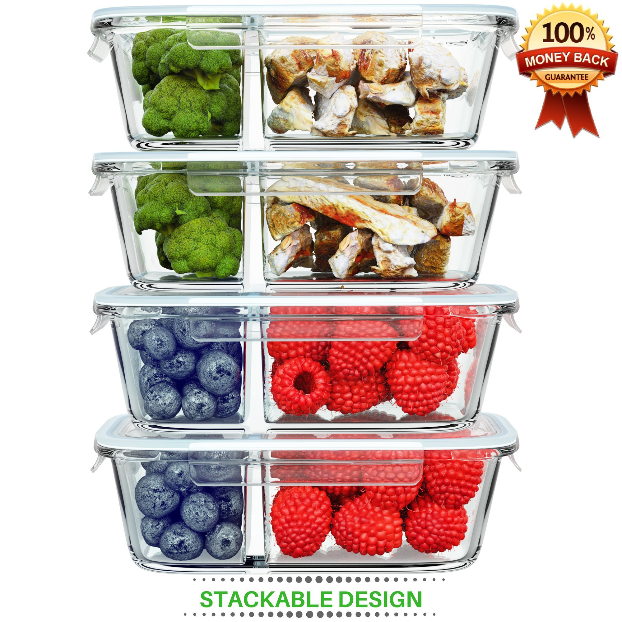 Shazo [4-PACK, 32oz] Glass Food Storage Container 2