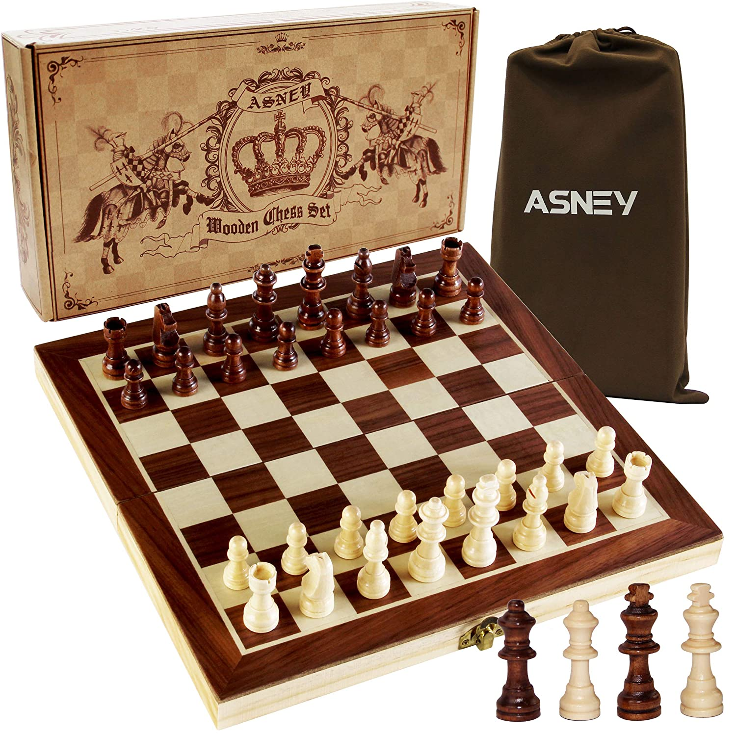"""ASNEY Upgraded Magnetic Chess Set, 12"""" x 12"""" Folding Wooden Chess Set with Magnetic Crafted Chess Pieces, Chess Game Board Set with Storage Slots, Includes Extra Kings Queens and Carry Bag"""