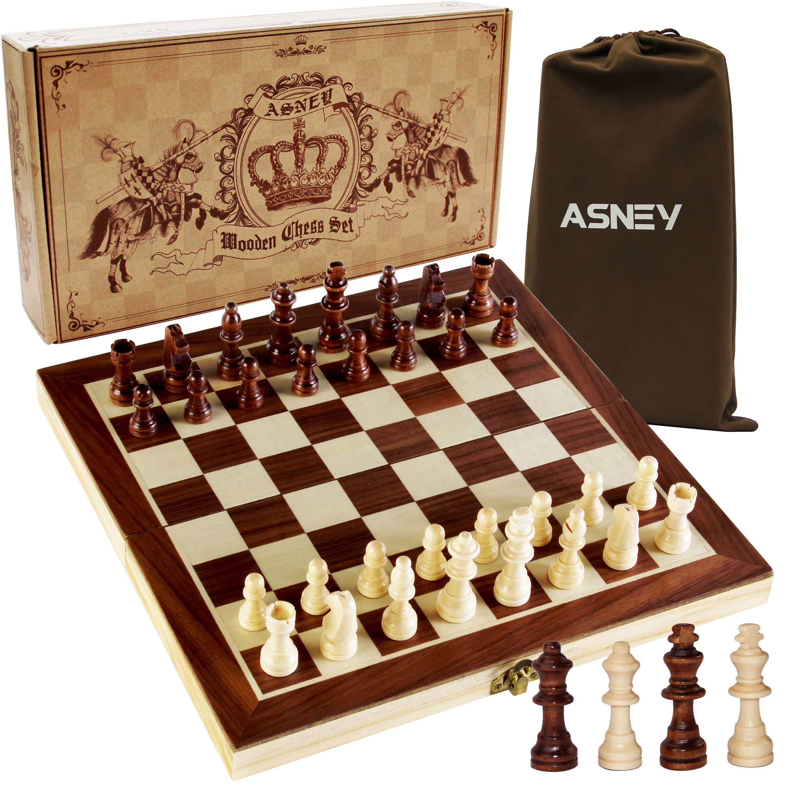 ASNEY Upgraded Magnetic Chess Set, 12'' x 12'' Folding Wooden Chess Set with Magnetic Crafted Chess Pieces, Chess Game Board Set with Storage Slots, Includes Extra Kings, Queens and Carry Bag by ASNEY
