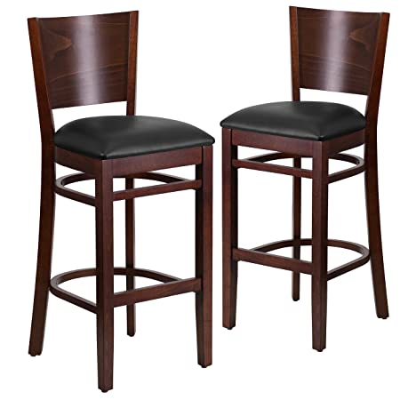 Flash Furniture 2 Pk. Lacey Series Solid Back Walnut Wood Restaurant Barstool – Black Vinyl Seat
