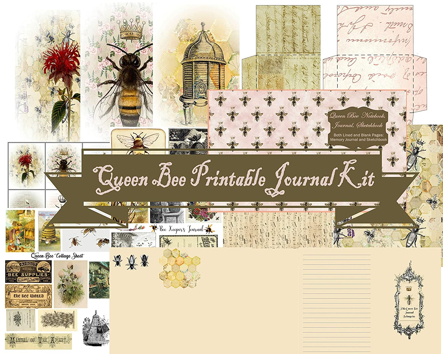 Queen Bee Printable Journaling Kit on CD: Notebook Diary Sketch Book DIY Journaling Kit 8.5 x 11 Printable PDF on CD Junk Journal