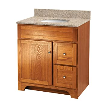 30 bathroom vanity with sink and drawers vessel top foremost inch oak