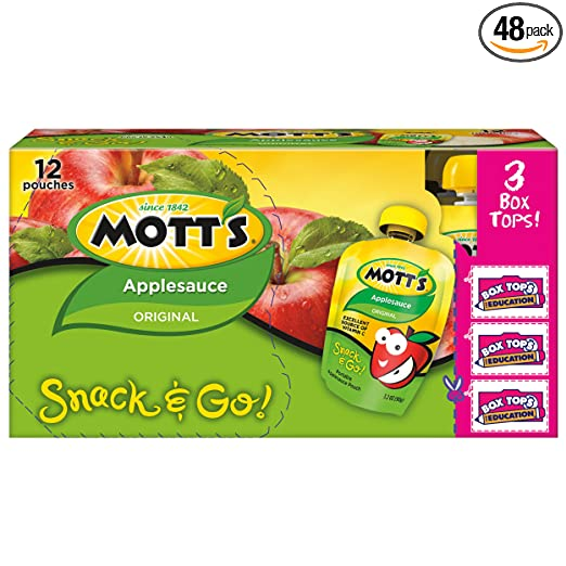 Mott's Snack & Go Original Applesauce, 3.2 oz pouches (Pack of 48)