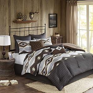 Woolrich Comforter Set, King, Bitter Creek Grey/Brown