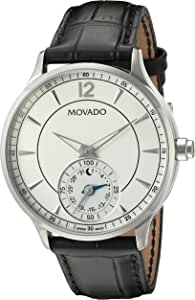 Movado Men's Swiss Quartz Stainless Steel and Leather Watch, Color:Black (Model: 0660007)