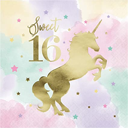 UNICORN Believe in Magic SMALL NAPKINS 16 ~Shower Party Supplies Pastel Cake