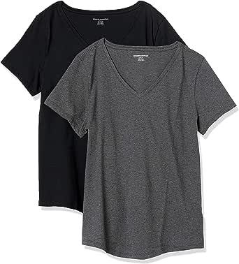 Amazon Essentials Paquete de 2 Camisetas 100% algodón de Ajuste Relajado con Cuello en V de Manga Corta Camiseta para Mujer