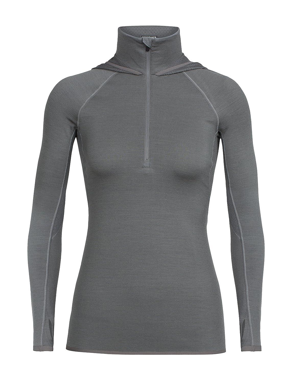 Icebreaker Women Fluid Zona Long Sleeve Half Zip Hood Metal//Dew