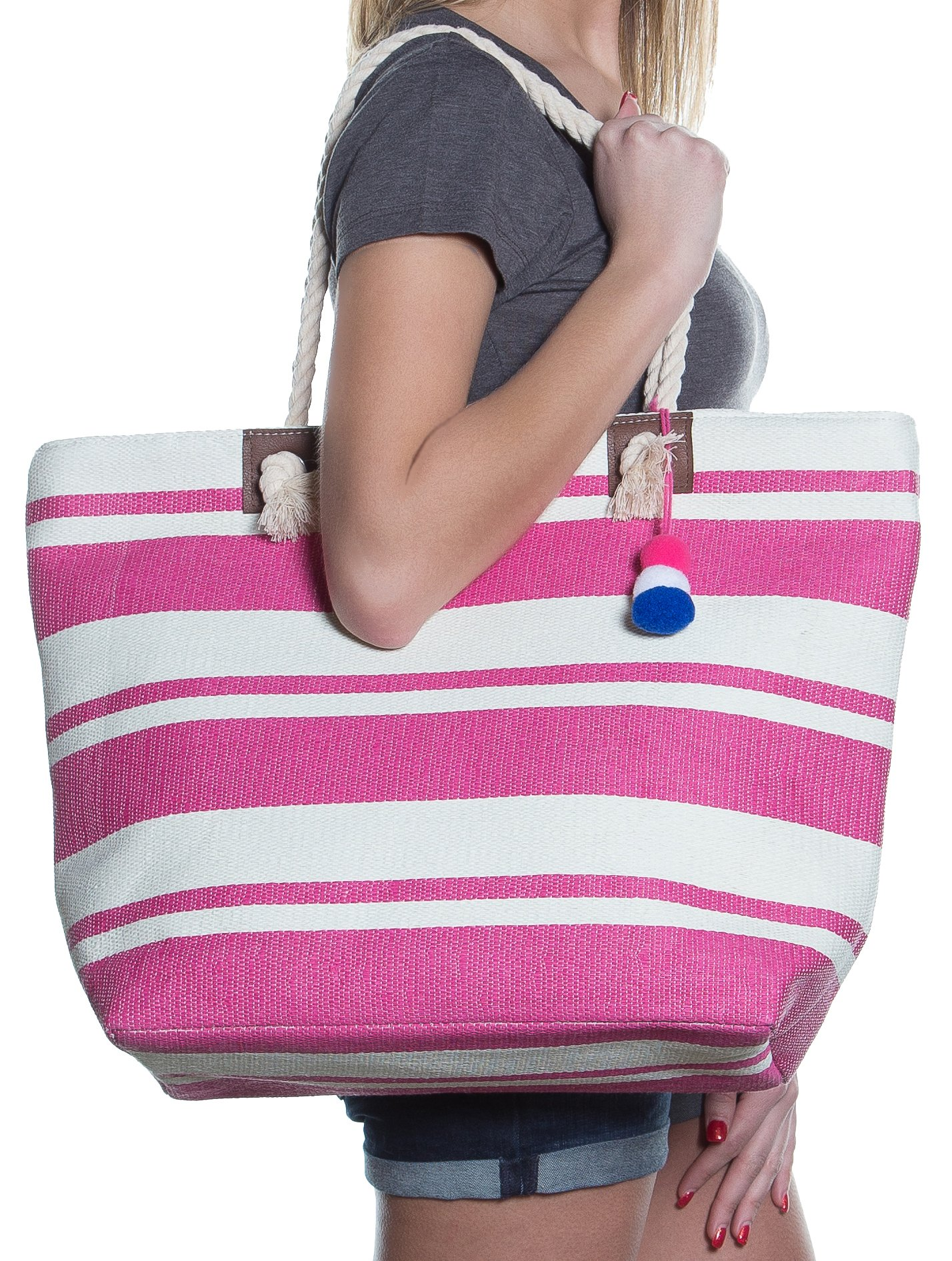 Beach Bag By Pier 17 - Beach Tote Bag withTop Zipper Closure, Cotton Rope Handles, 2 Inner Pocket, Built-In Inner Backing for Extra Durability - L20''xH15''xW6'' (Pink - White)
