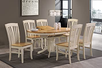 Greenheart Furniture UK Ireland Cambridge Round Extending Pedestal Dining Set Cream