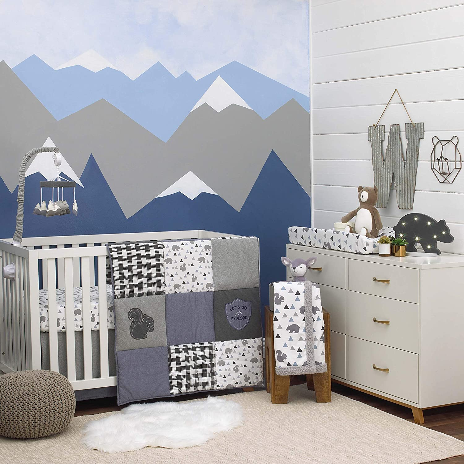 NoJo Mountain Patchwork 4Piece Nursery Crib Bedding Set, Grey/Denim/Slate Blue/White