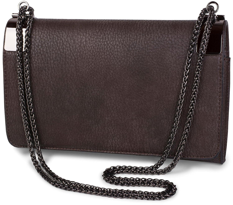 styleBREAKER Clutch, Abendtasche mit Metallspangen und Gliederkette, Vintage Design, Damen 02012046 Farbe:Altrose dunkel