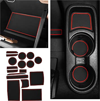 Door Pocket Liners 16-pc Set Red Trim CupHolderHero fits Jeep Wrangler JK Accessories 2011-2017 Premium Interior Non-Slip Anti Dust Cup Holder Inserts 2011-2017 Center Console Liner Mats