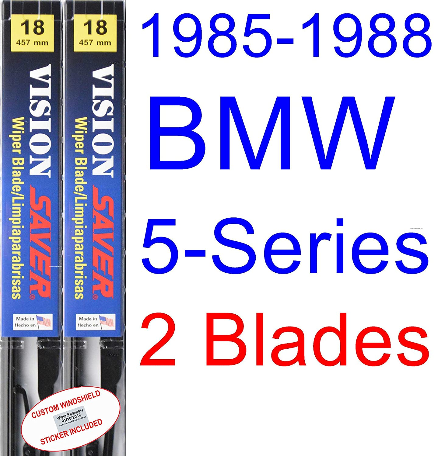Amazon.com: 1985-1988 BMW 5-Series Wiper Blade (Driver) (Saver Automotive Products-Vision Saver) (1986,1987): Automotive