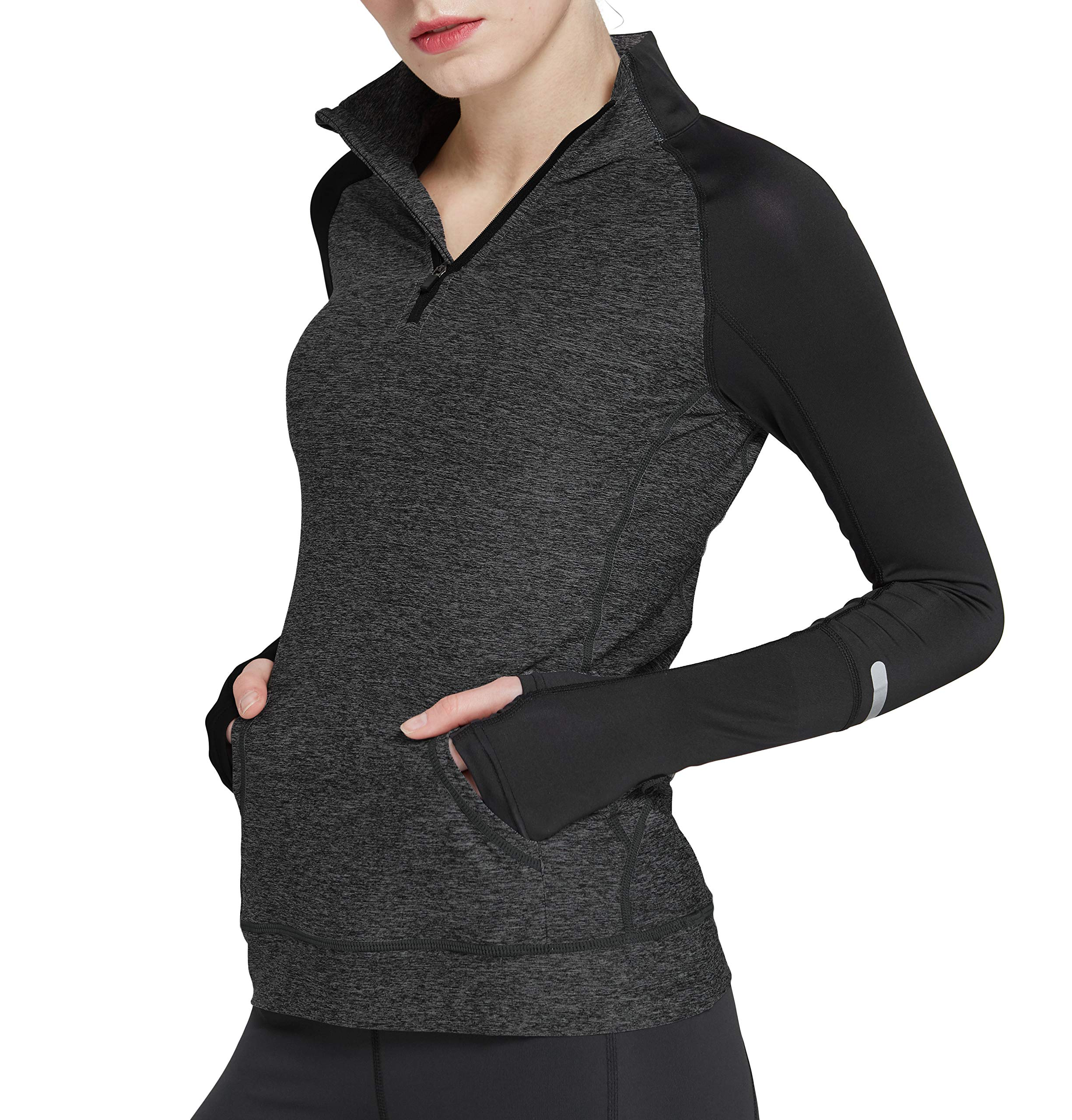Women's Yoga Long Sleeves Half Zip Sweatshirt Girl Athletic Workout Running Jacket d_gy m Deep Grey by Cityoung