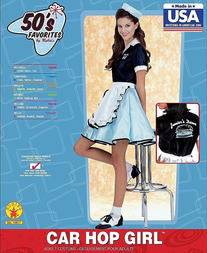 bb81b267315fe Amazon.com: Adult Car Hop Girl 50s Costume, One Size: Clothing