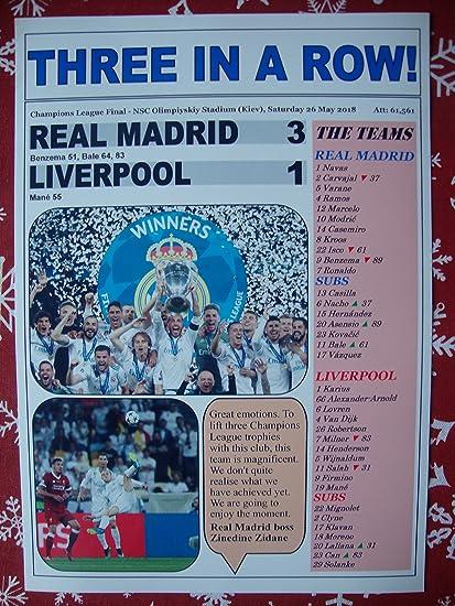 Sports Prints UK Real Madrid 3 Liverpool 1-2018 Champions League final - souvenir print