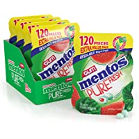 Mentos Pure Fresh Sugar-Free Chewing Gum with Xylitol, Watermelon, 120 Piece Bulk Resealable Bag (Pack of 4)