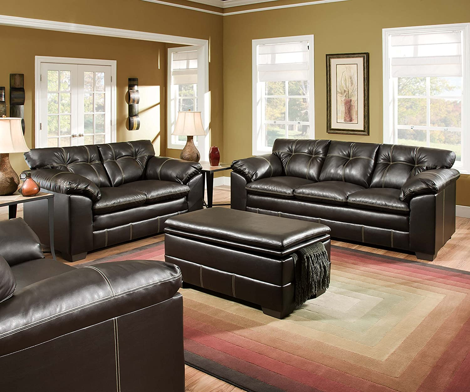 Nice Amazon.com: Simmons Upholstery 6769 03 Premier Chocolate Bonded Leather Sofa:  Kitchen U0026 Dining