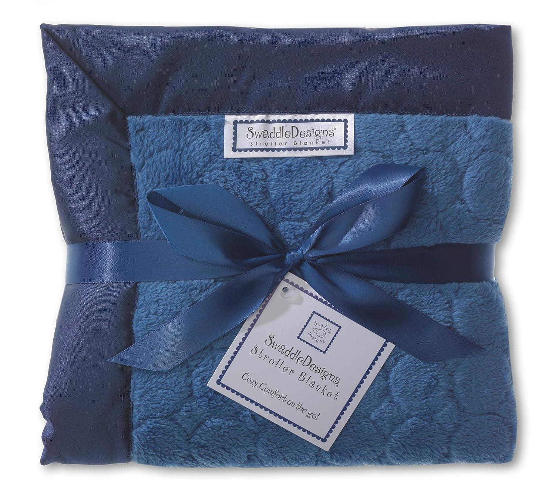 SwaddleDesigns Stroller Blanket, Jewel Tone Puff Circles, True Blue SD-168TB