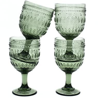 Euro Ceramica Fez Glassware Collection Wine/Water Goblet Glasses, 12oz, Set of 4, Gray