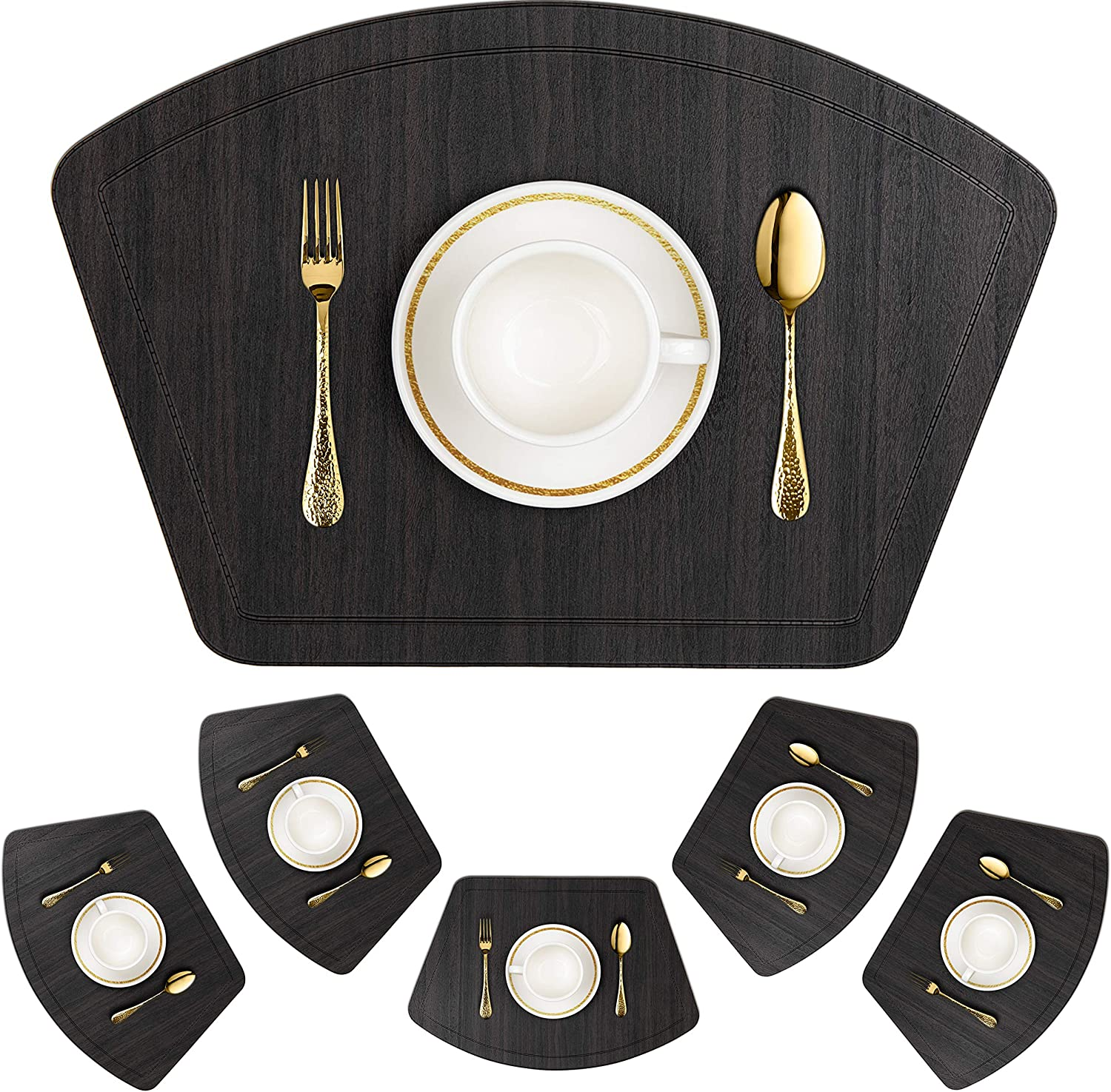 IMMOKAZ Round Placemat for Dining Heat Insulation Stain Resistant Non-Slip Waterproof Washable Wipe Clean PU Fan Shape Wedge Kitchen Table Mat Set (6, Pu_Wood Black)