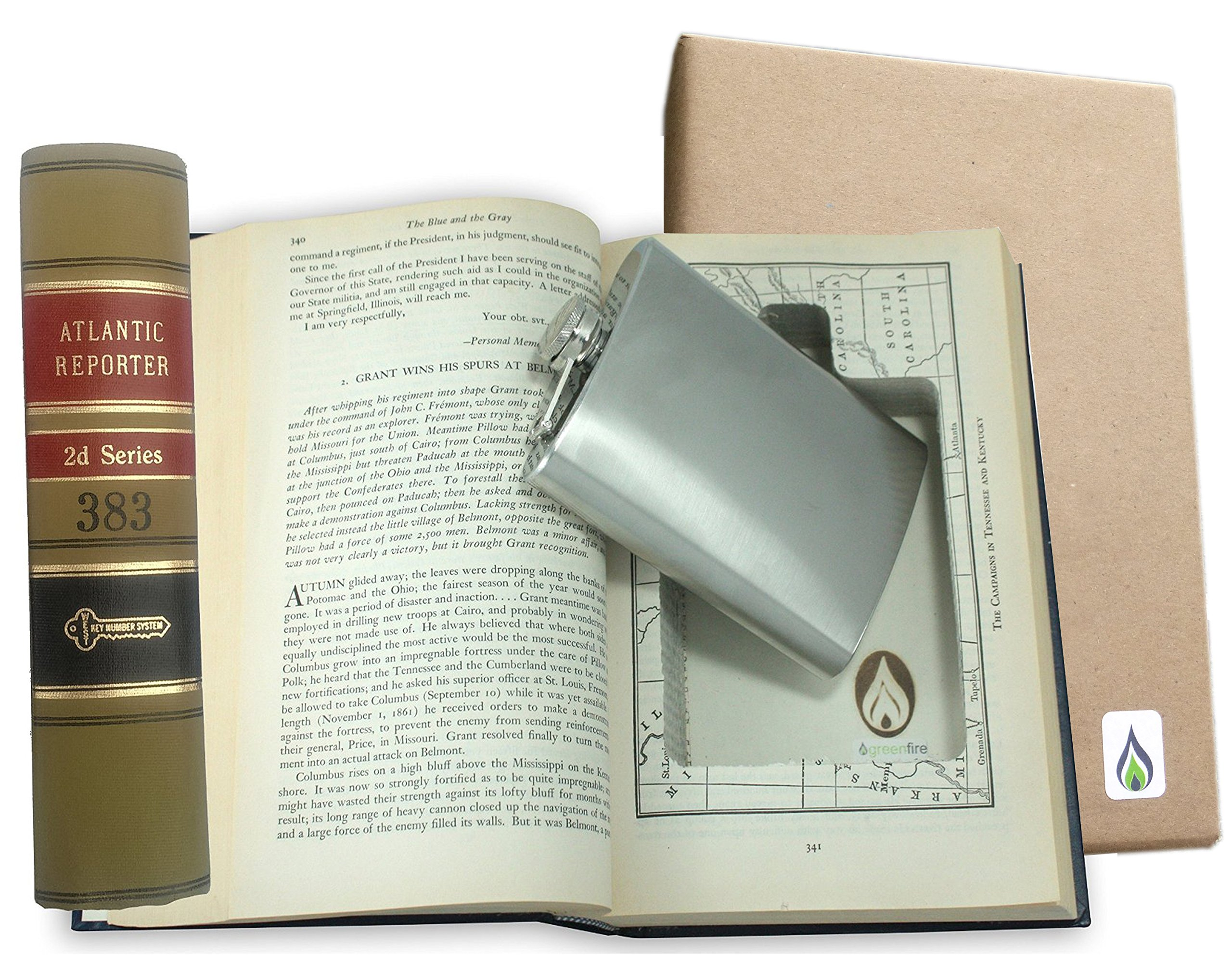 SneakyBooks Recycled Law Book Hidden Flask Diversion Safe (6 Fluid Ounce Flask Included) - Good for Booze/Jewelry/Coins/Money/valuables/Medicine by Greenfire