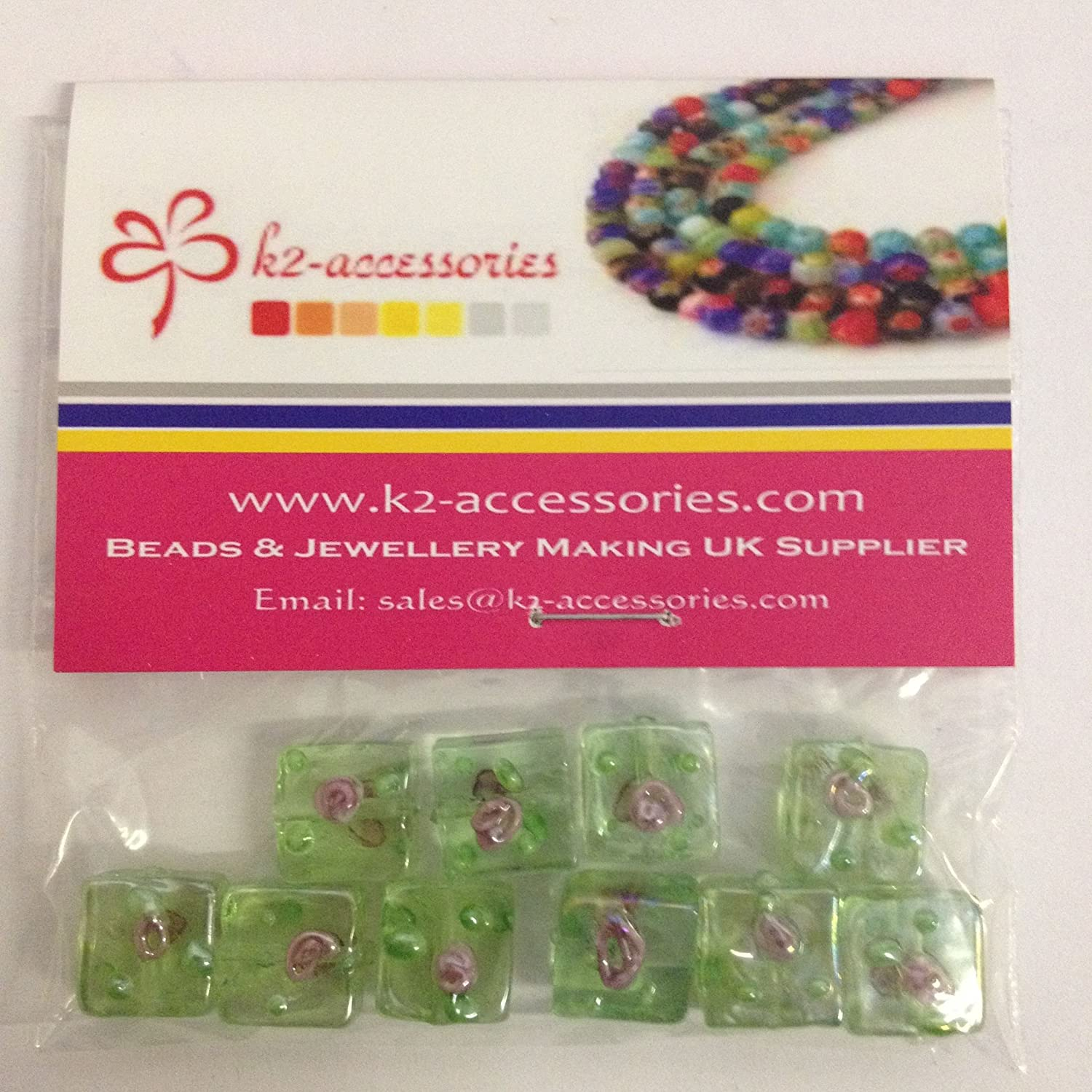 10 x Lampwork Square Glass Beads - 12x12x6mm - A4148 / 10 beads k2-accessories