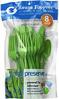 product image for Preserve 24-Piece Cutlery Set, Apple Green, Pack of 12