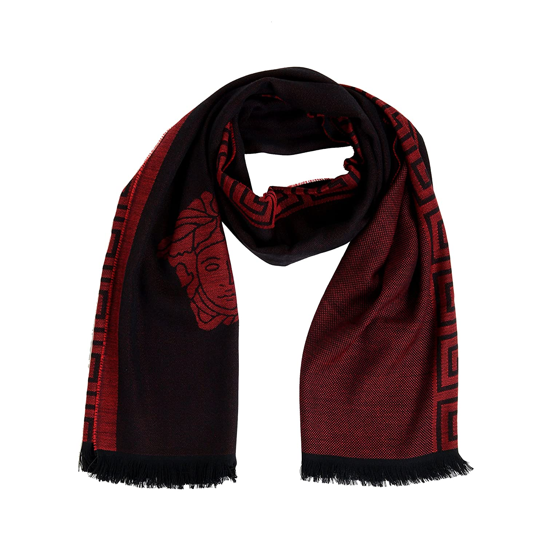 Versace Red 100% Wool Logo Print Shawl Scarf