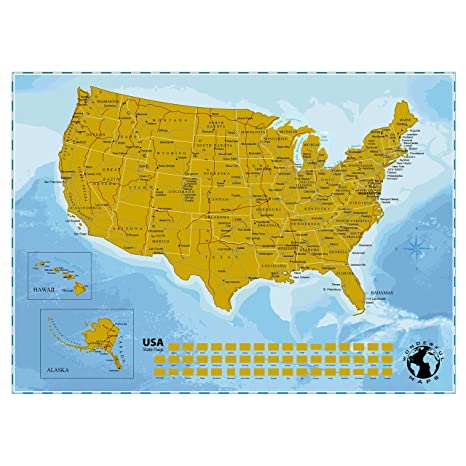 Wonderful Maps Scratch Off US . Perfect Gift For Travelers. With All US  States and State Flags. Large USA with Highways and State Capitals. A1  Poster ...