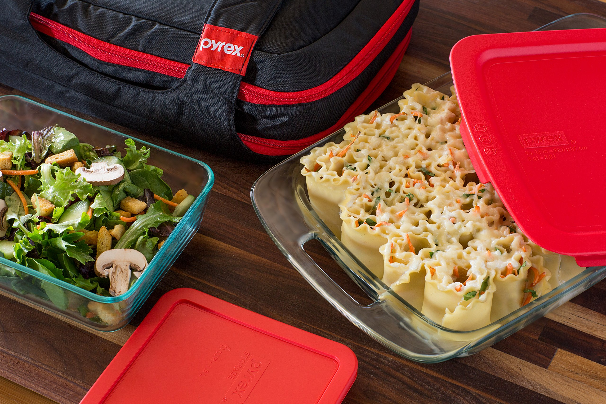 Pyrex Portables Glass Bakeware and Food Storage Set (Black Carrier, 9-Piece Double Decker, BPA-free) by Pyrex (Image #3)
