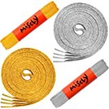 "Miscly Flat Metallic Shoelaces [2 Pairs: 1 Pair Gold + 1 Pair Silver] 5/16"" Wide"