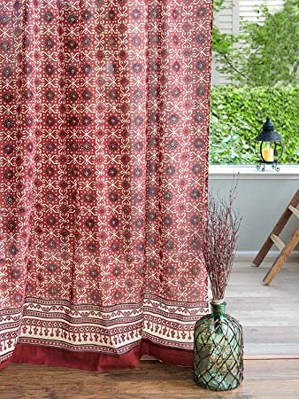 Saffron Marigold Rustic Ruby Kilim Curtain Panel Turkish Ruby Red Black Bohemian Window Curtains for Living Room or Bedroom 46 x 63