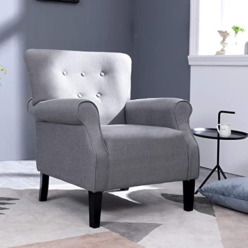 Top Space Modern Accent Arm Chair Single Sofa Comfy Upholstered Roll Arm Chair