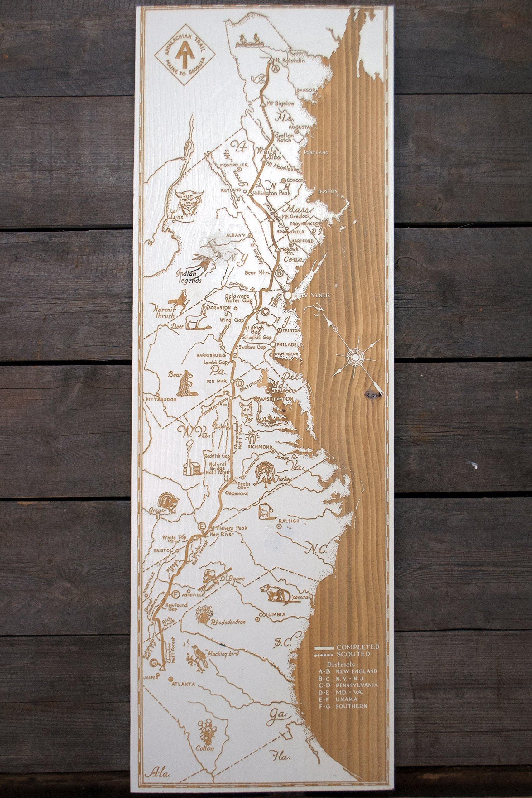 Appalachian Trail wood engraved map