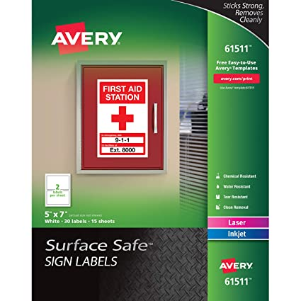 amazon com avery surface safe sign labels 5 x 7 removable