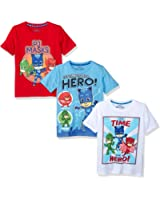 PJMASKS PJ Masks Little Boys' 3 Pack Tees, Multi, 5
