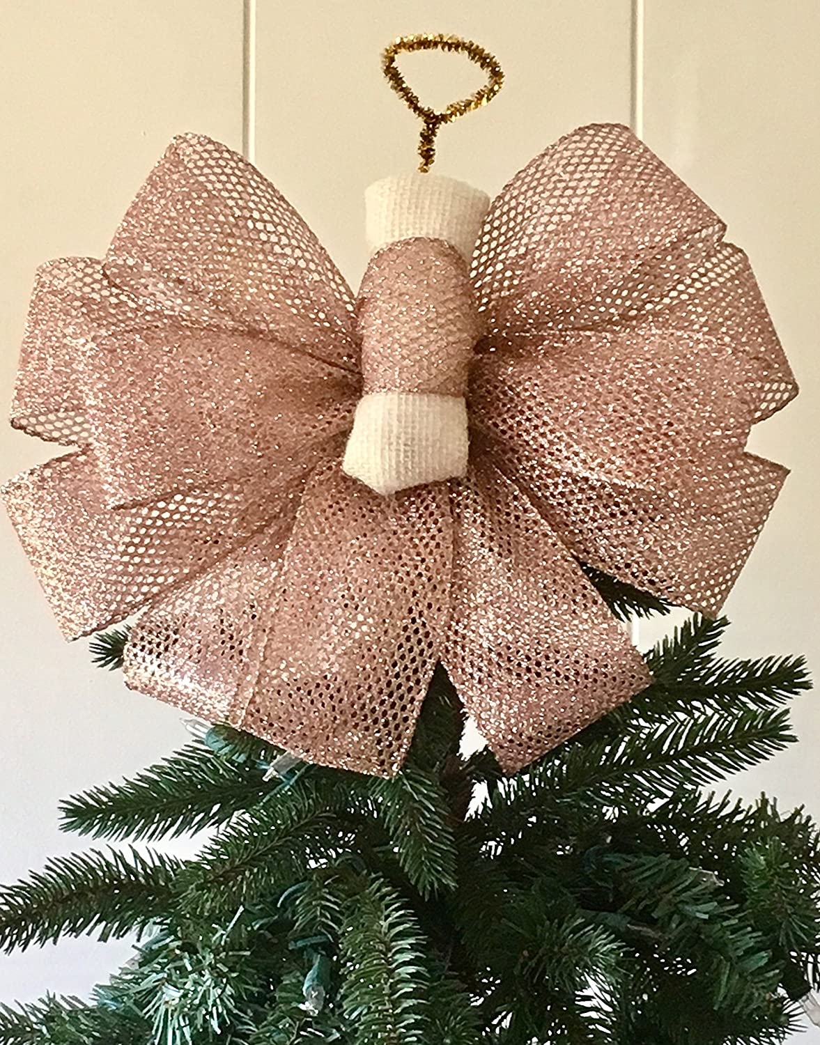Rose Quartz Angel Tree Topper Handmade / The Frosty Collection / Custom Bows By Jami