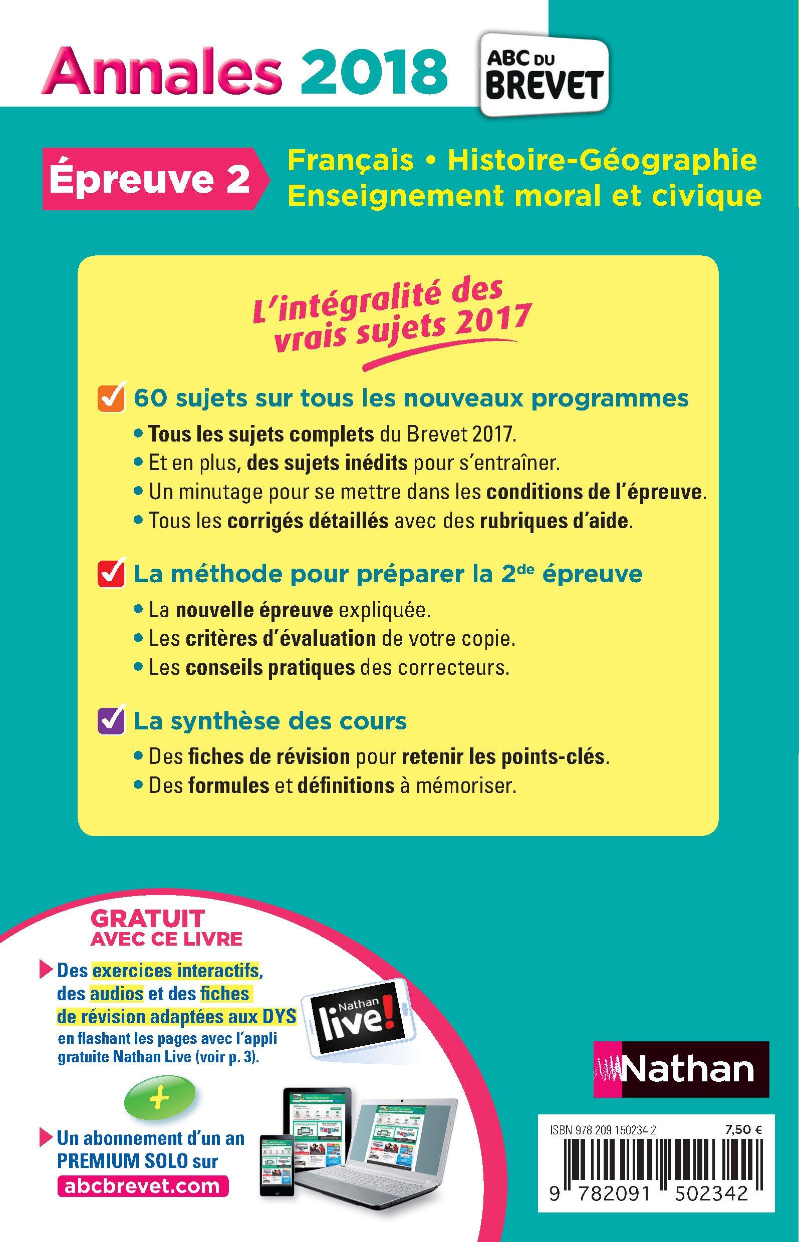Epreuve 2 Français, Histoire-Géographie-EMC 3e : Sujets & corrigés Annales ABC du Brevet: Amazon.es: Collectif, Thomas Bouhours, Céline Mimouni, ...