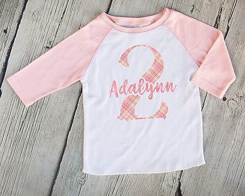 Girls Baseball Tee Girls Birthday Shirt Second Third Fourth Fifth Sixth Birthday Shirt Pink Plaid Personalized Kids Raglan Birthday Shirt 1st 2nd 3rd 4rd 5th 6th Birthday Tee