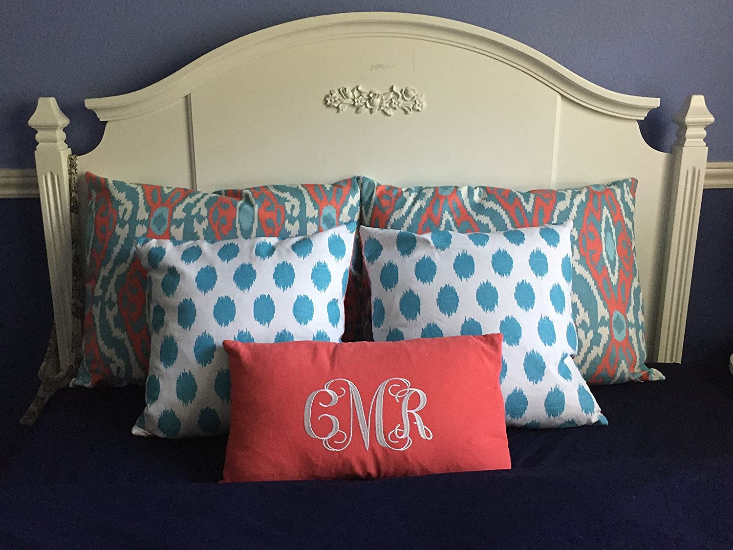 Image of Bed Pillow Ensemble in Coral and Aqua