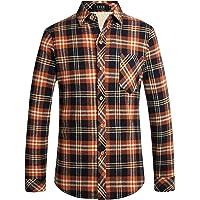 SSLR Men's Winter Thick Button Down Flannel Fleece Plaid Shirt Jacket
