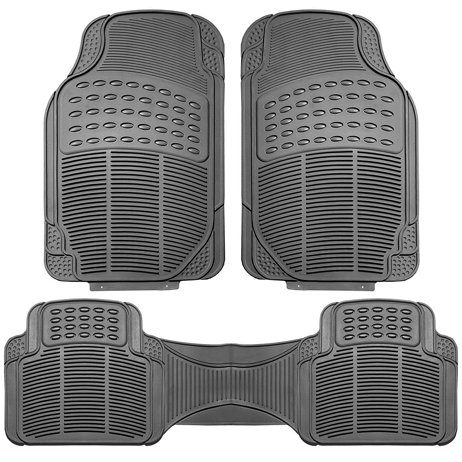 3 Piece FH Group F11306GRAY Gray All Weather Floor Mat Full Set Trimmable Heavy Duty