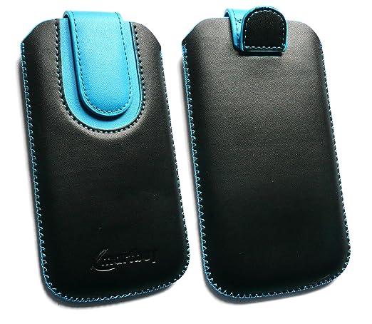 2 opinioni per Emartbuy® Nero / Blu PU Pelle Custodia Case Cover Sleeve ( Misura 3XL ) con