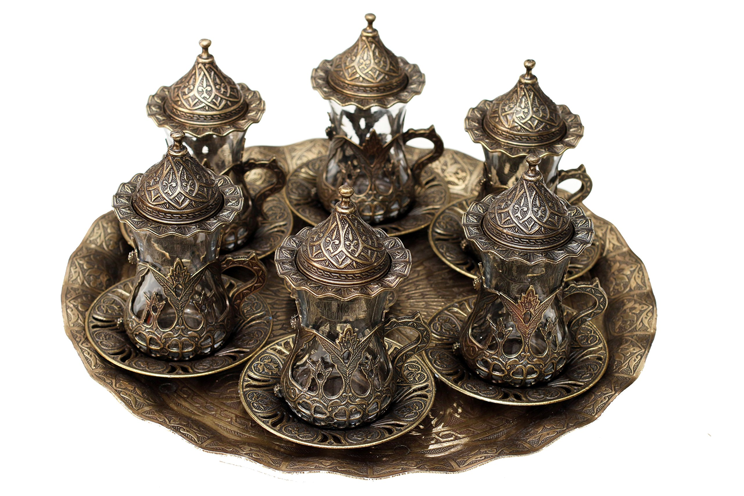 Turkish Style Tea Glasses with Holders Lids, Saucers and Tray 6 Pcs Set (brass)