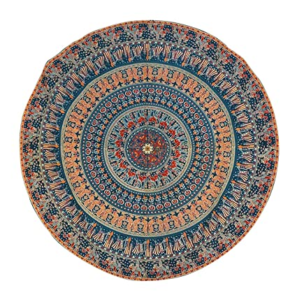 Sovereigns Cotton Mandala Indian Ethnic Hanging Wall Tapestry Throw Round Mat (Blue, 50-inch Diameter)