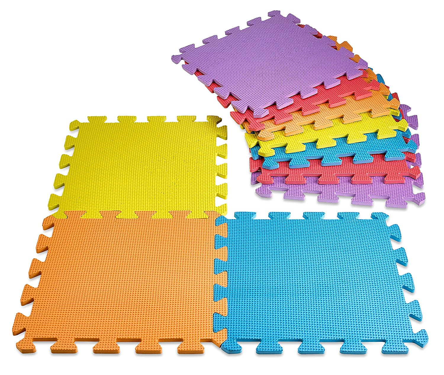 MEDca floor Mat 9-tile Exercise Mat Solid Foam EVA Playmat Kids Safety Assorted Soft Colors