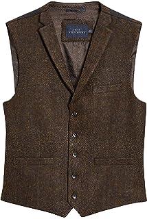 Harris Tweed by Dobell Herren Blau Schwarze Fischgr/ätenmuster Weste 5 Kn/öpfe